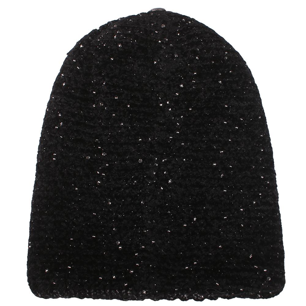 Черная шапка Vizio Collezione с бисером