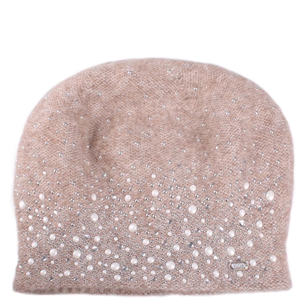 Вязаная шапка Vizio Collezione бежевого цвета