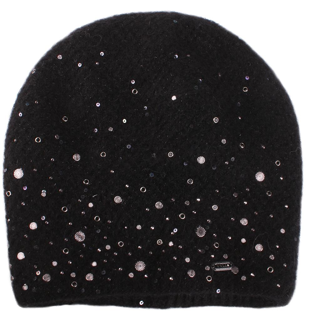 Черная шапка Vizio Collezione декорированная пайетками