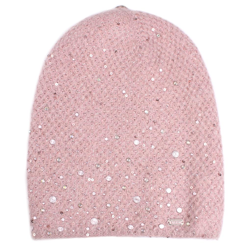 Вязаная шапка Vizio Collezione розового цвета