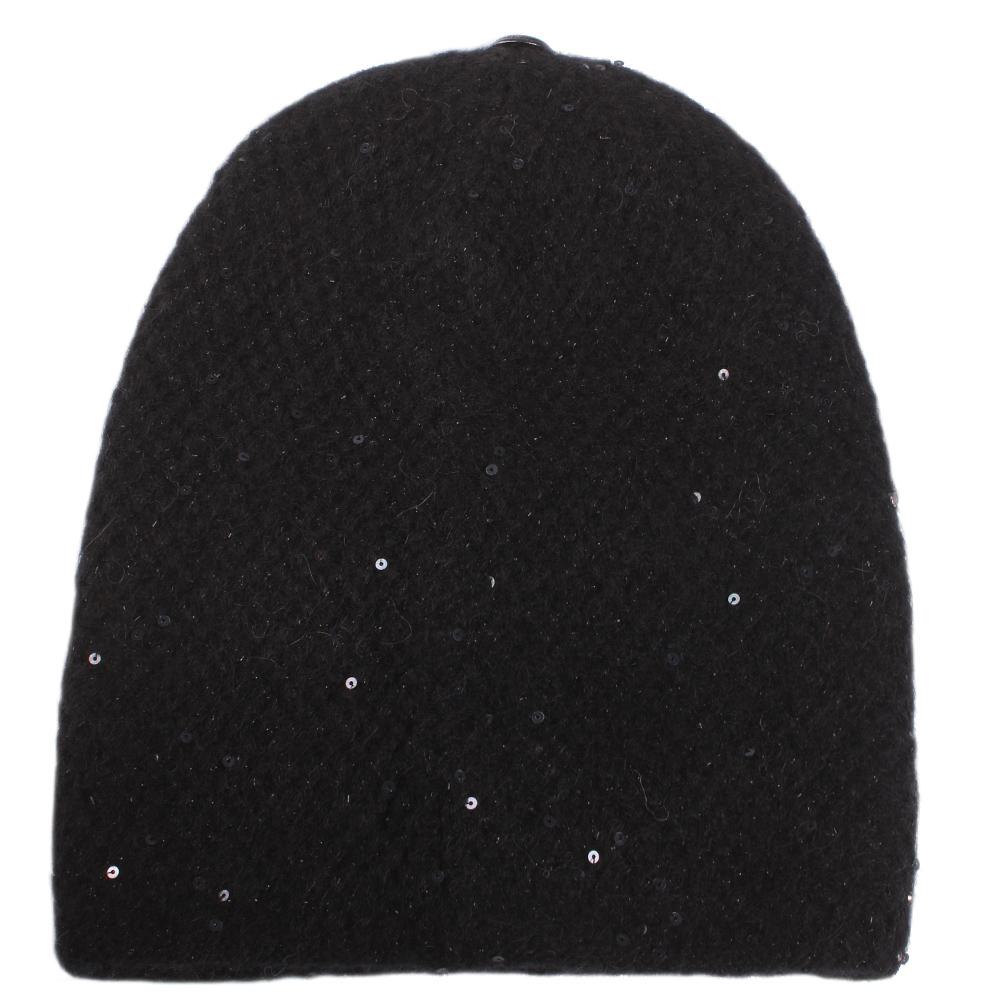 Черная шапка Vizio Collezione с декором