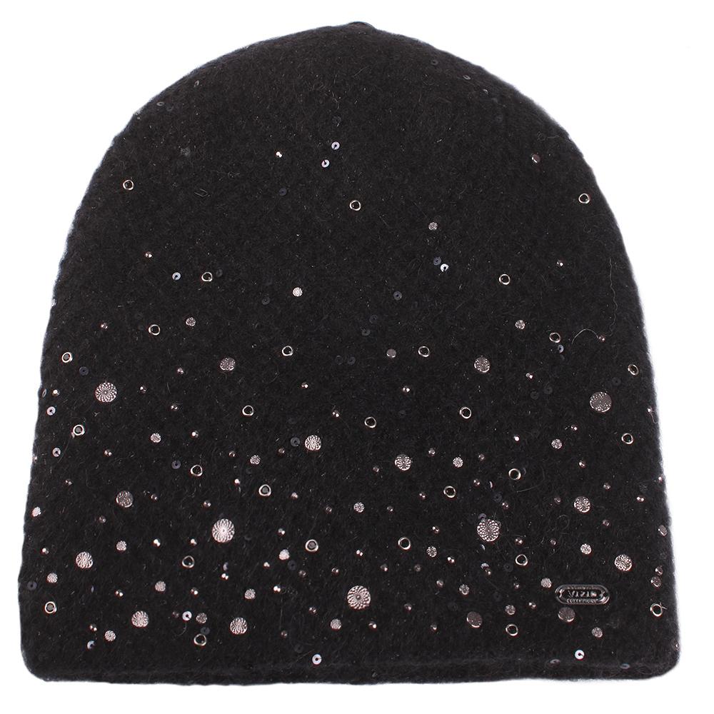 Черная шапка Vizio Collezione с металлическим декором