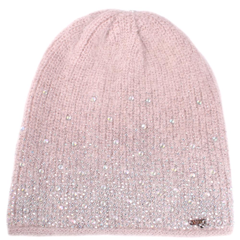 Розовая шапка Vizio Collezione со стразами