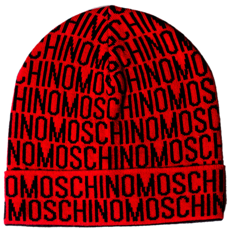 Красная шапка Moschino с логотипом черного цвета