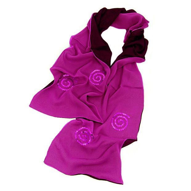 Шелковый итальянский шарф Ostinelli Фуксия с пайетками