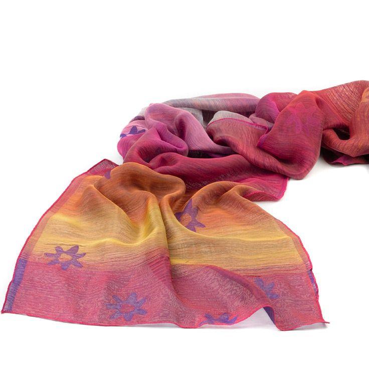 Шелковый итальянский шарф Ostinelli Тропический закат