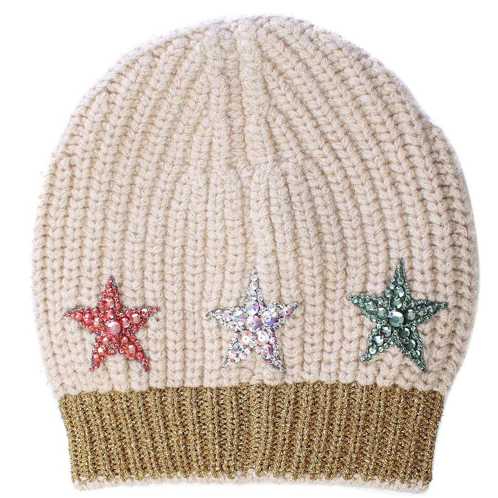 Бежевая шапка Gucci с декором-пайетками