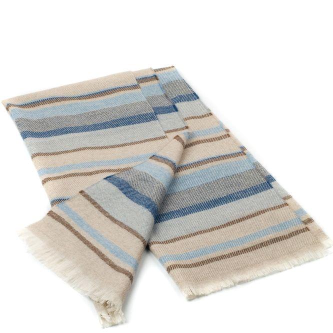 Шерстяной шарф Maalbi бежевый с голубыми и коричневыми полосами