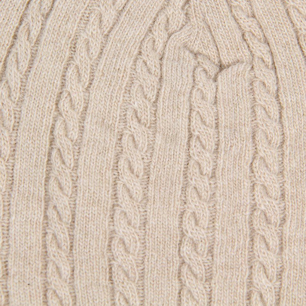 Шапка Le Camp Cashmere тонкая вязаная светло-бежевого цвета