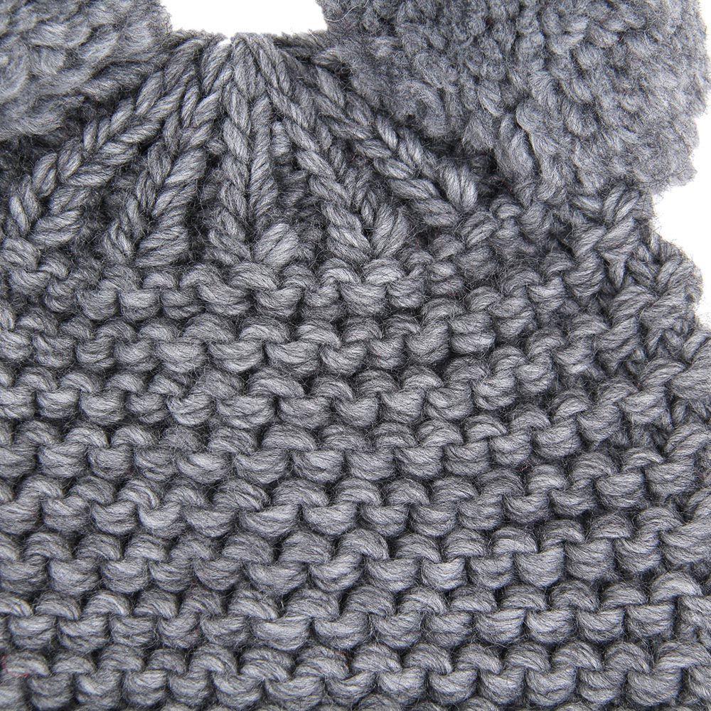 Шапка Le Camp Moronero вязаная серого цвета с ушками-балабонами