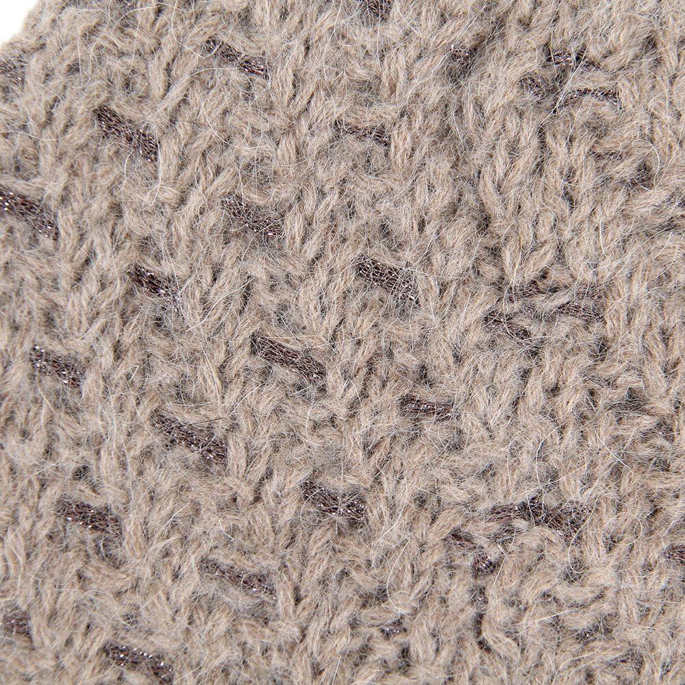 Шапка Le Camp вязаная светло-коричневая с вплетенной блестящей коричневой нитью