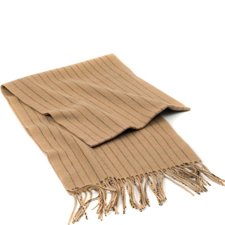 Шерстяной шарф Maalbi бежевый с тонкими темно-коричневыми полосками