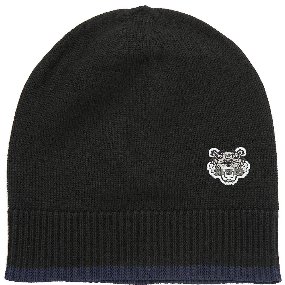 Черная шапка Kenzo с декором-эмблемой