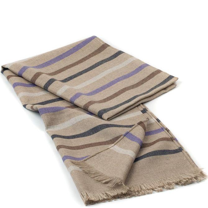Шерстяной шарф Maalbi серо-бежевый с коричневыми, серыми и фиолетовыми полосами