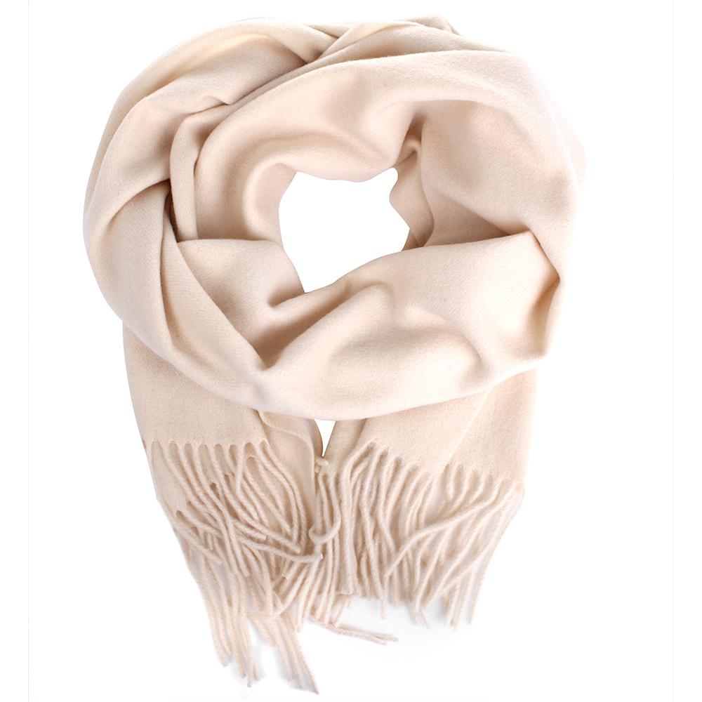 Бежевый шарф Maalbi из шерсти с бахромой