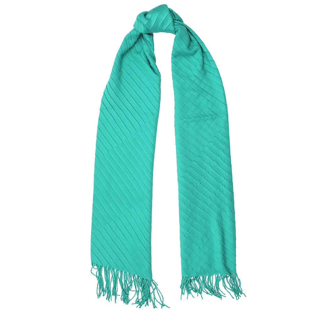 Однотонный шарф-плиссе Fattorseta цвета морской волны