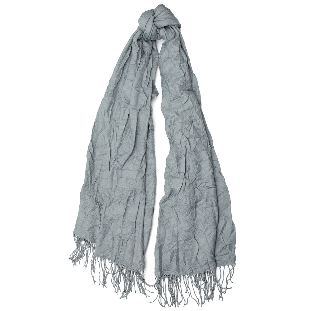 Серый шарф Fattorseta однотонный с плиссировкой