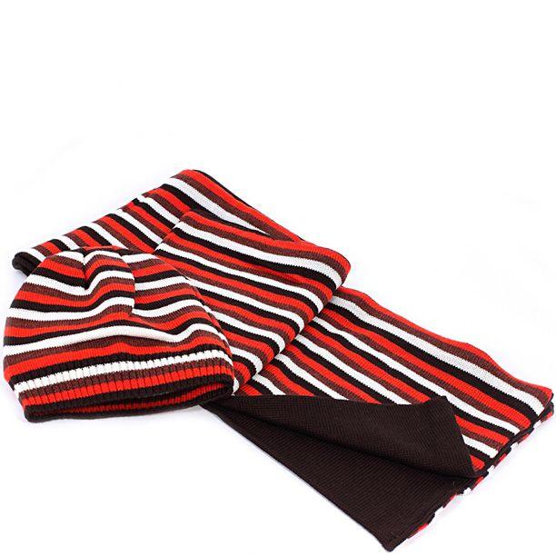 Шерстяные шарф и шапка Maalbi темно-коричневые с белыми и красными полосами