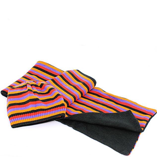 Шерстяные шарф и шапка Maalbi черные с оранжевыми и лавандовыми полосами