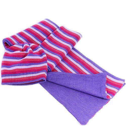 Шерстяные шарф и шапка Maalbi лавандовые с малиновыми полосами