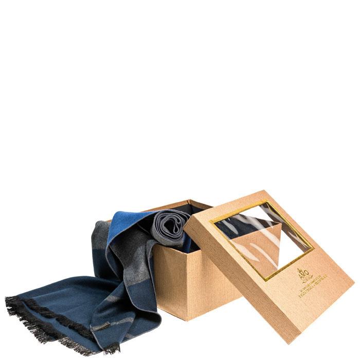 Синий шарф в серую полоску Amo Accessori из шелка