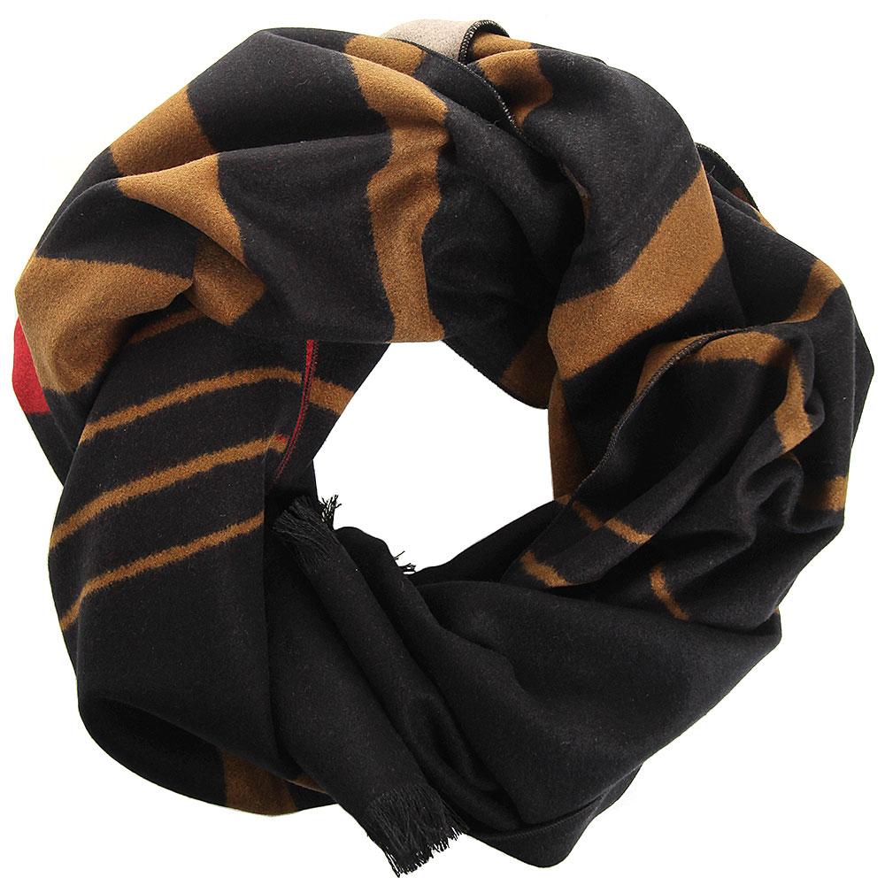 Полосатый шарф Amo Accessori коричневый с красным