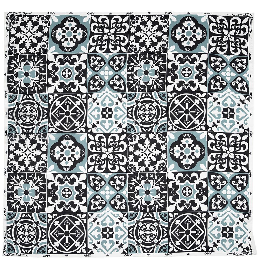 Шелковый платок Amo Accessori Majolica черно-белый