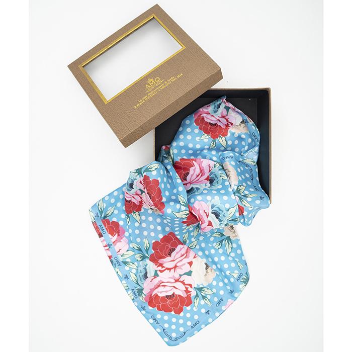 Голубой платок Amo Accessori Peonies с цветочным принтом