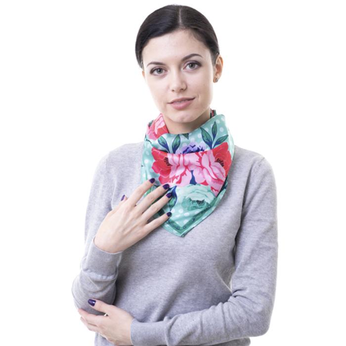 Зеленый платок Amo Accessori Peonies из шелка