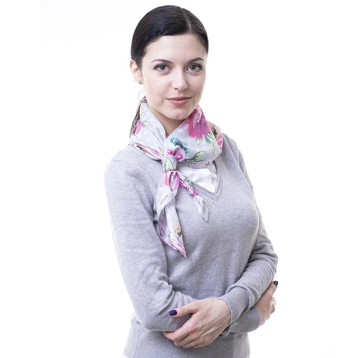 Шелковый платок Amo Accessori Peonies с принтом-пионы