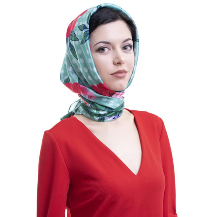 Шелковый платок Amo Accessori Peonies зеленого цвета