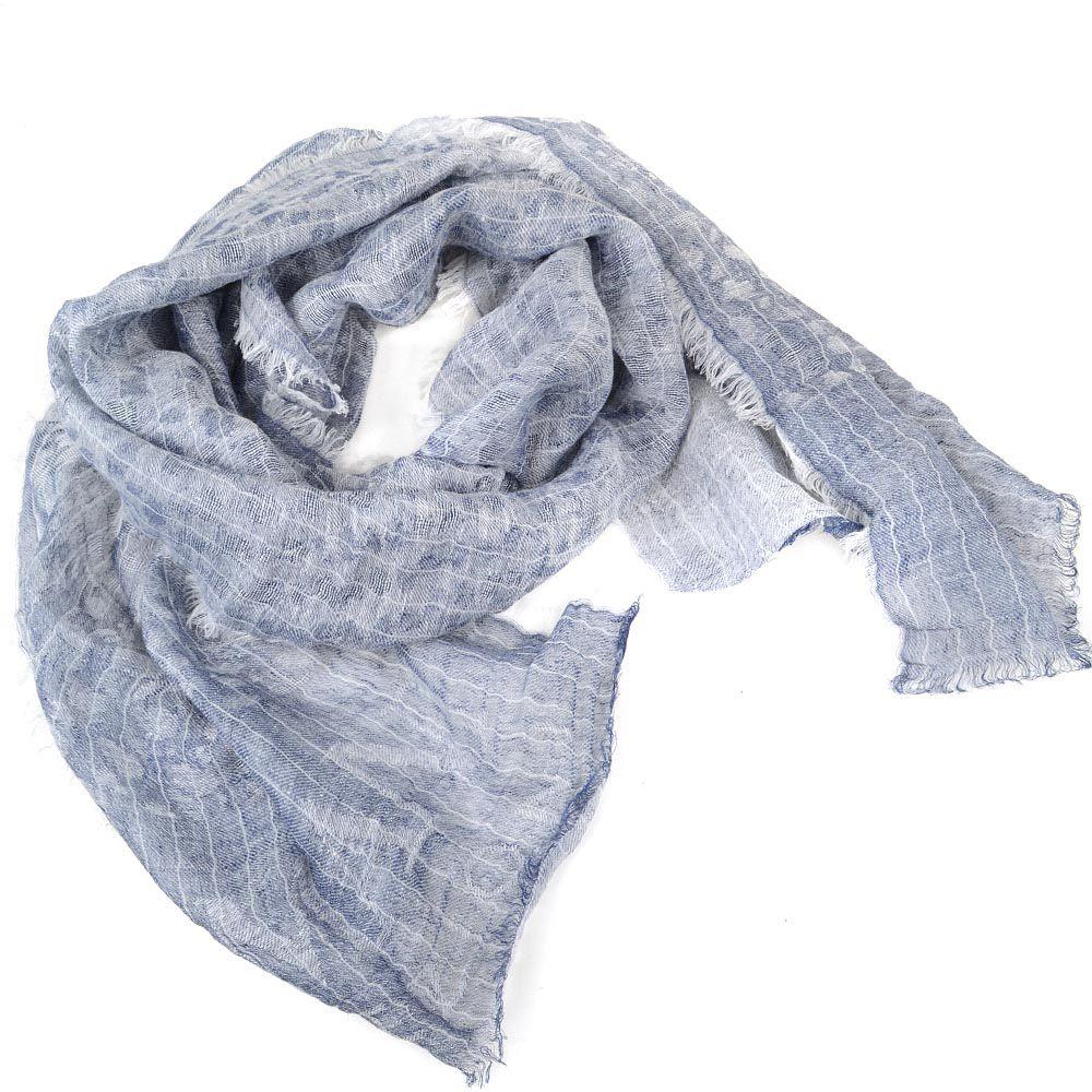 Широкий шарф Armani Collezioni серо-голубой льняной приятный