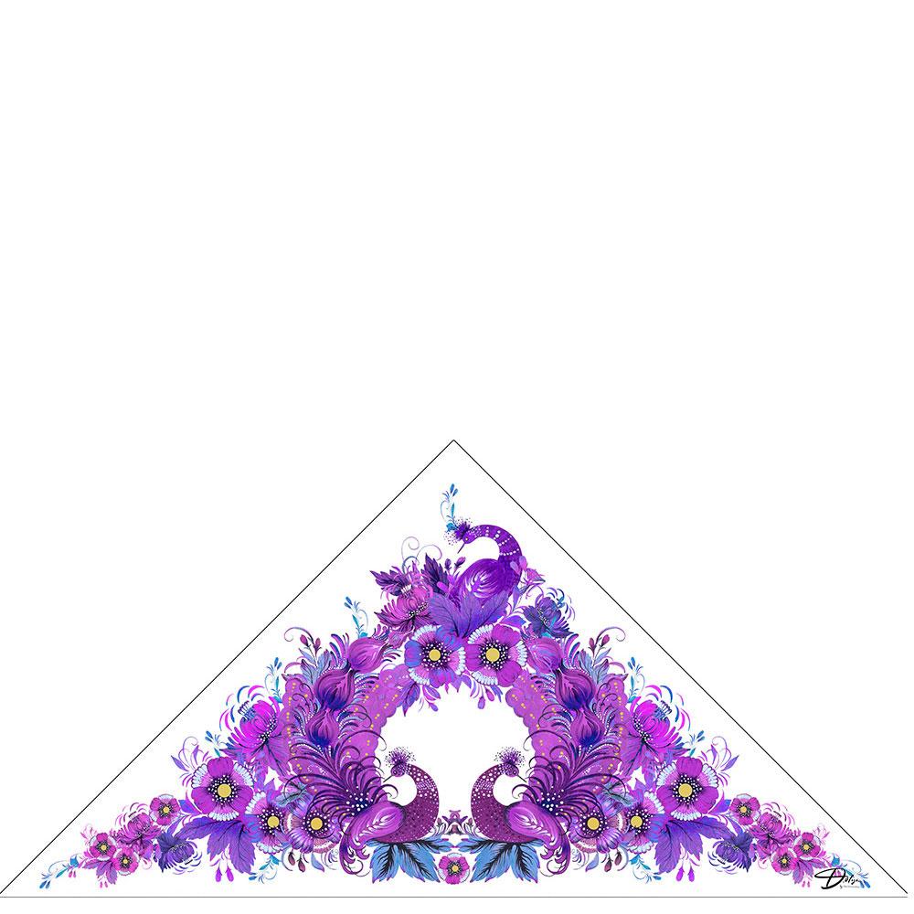 Фиолетовая косынка из батиста D.OLYA by Olga Dvoryanskaya с бахромой