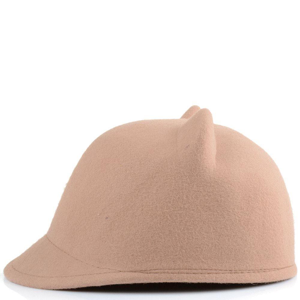 Жокейская кепка с кошачьими ушками бежевая