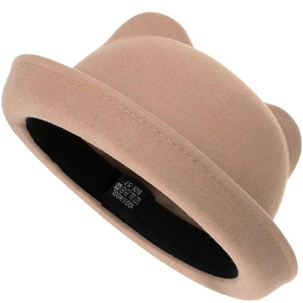 Шляпа с кошачьими ушками бежевая