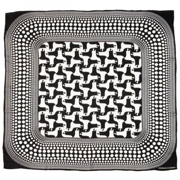 Платок Charles Jourdan «Shadows» шелковый черно-белый