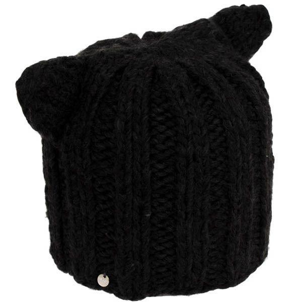 Шапка Hat You вязаная черного цвета с ушками