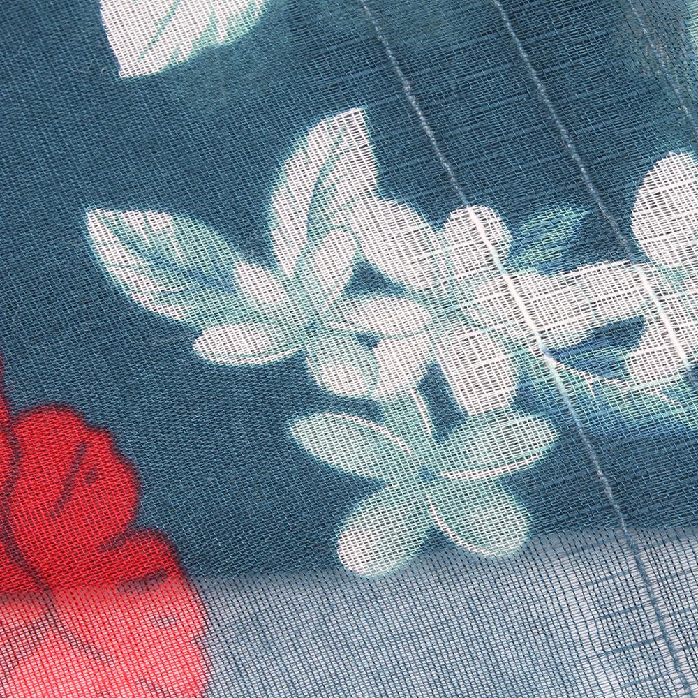 Синий палантин Fattorseta с цветочным принтом