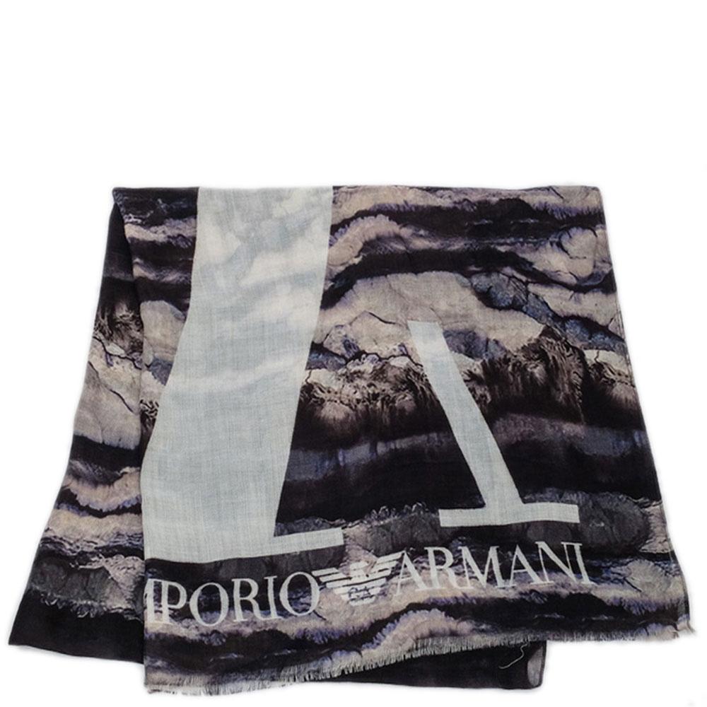 Шерстяной шарф Emporio Armani с принтом
