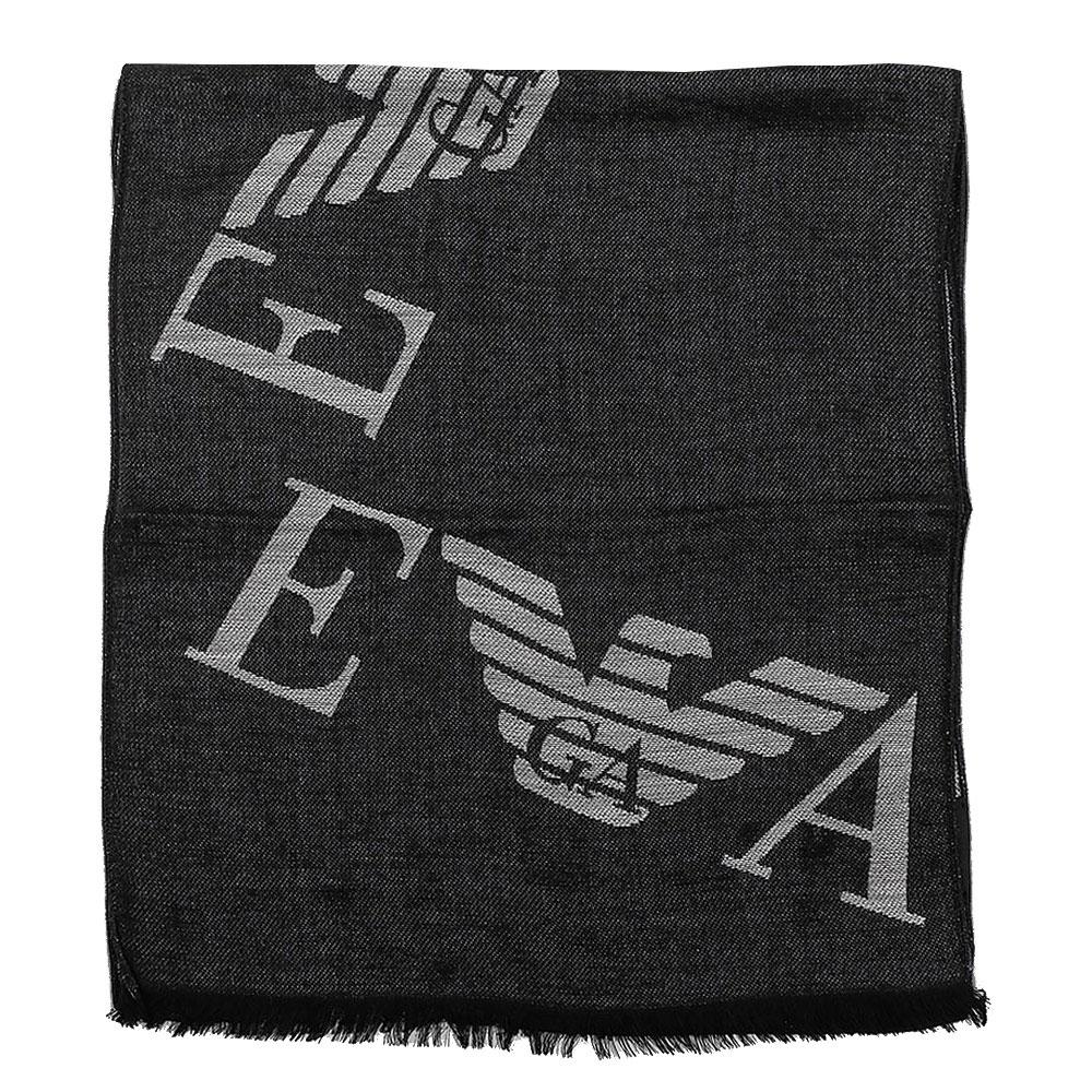 Шарф Emporio Armani с брендированой надписью темно-серого цвета