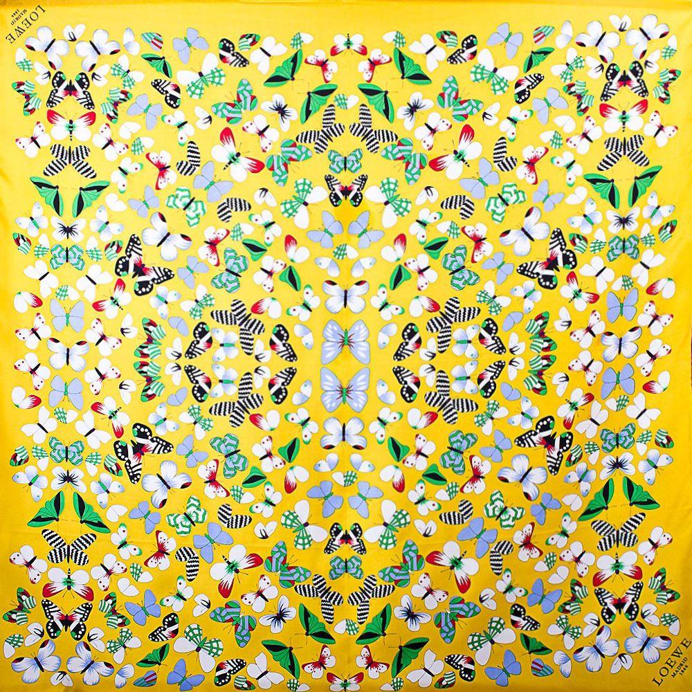 Шелковый платок Eterno желтый с бабочками