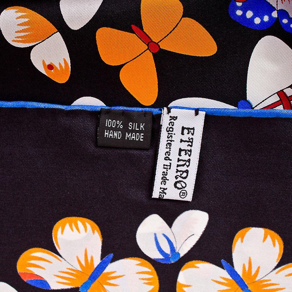 Шелковый платок Eterno черный с цветными яркими бабочками