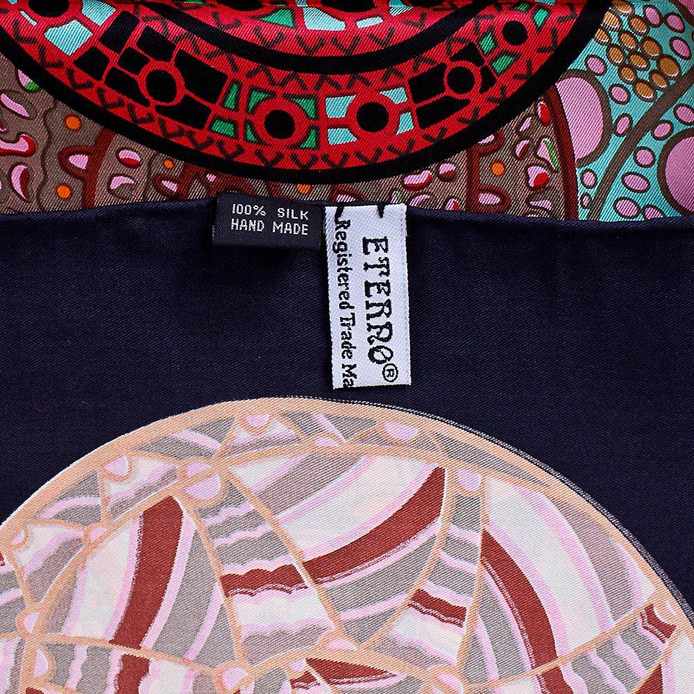 Шелковый платок Eterno с цветными яркими стилизованными раковинами улиток