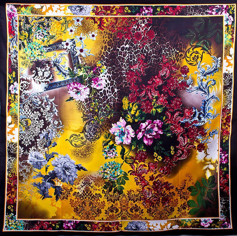 Шелковый женский платок Eterno с тропическим ярким принтом