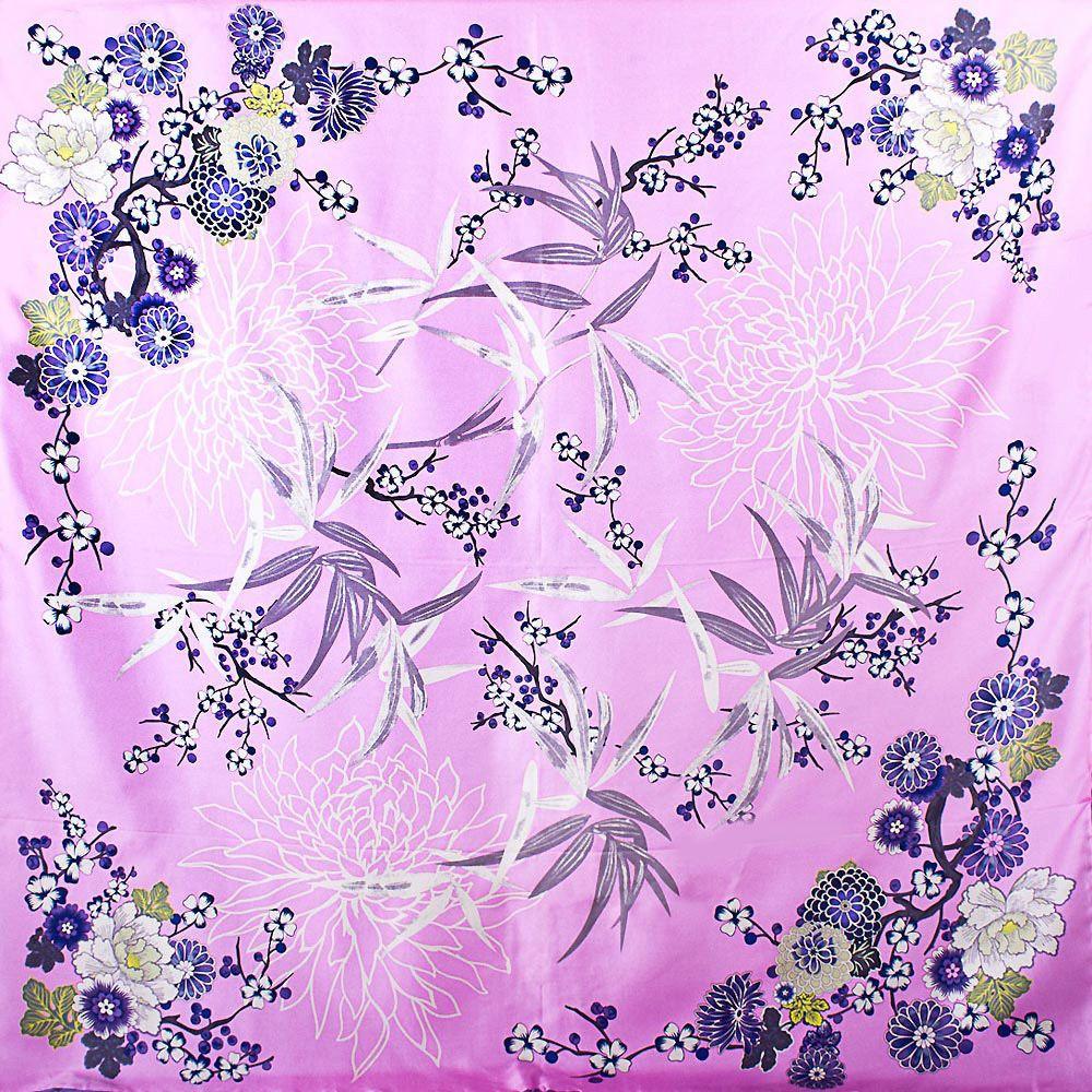Шелковый платок Eterno розовый с синими и белыми цветами