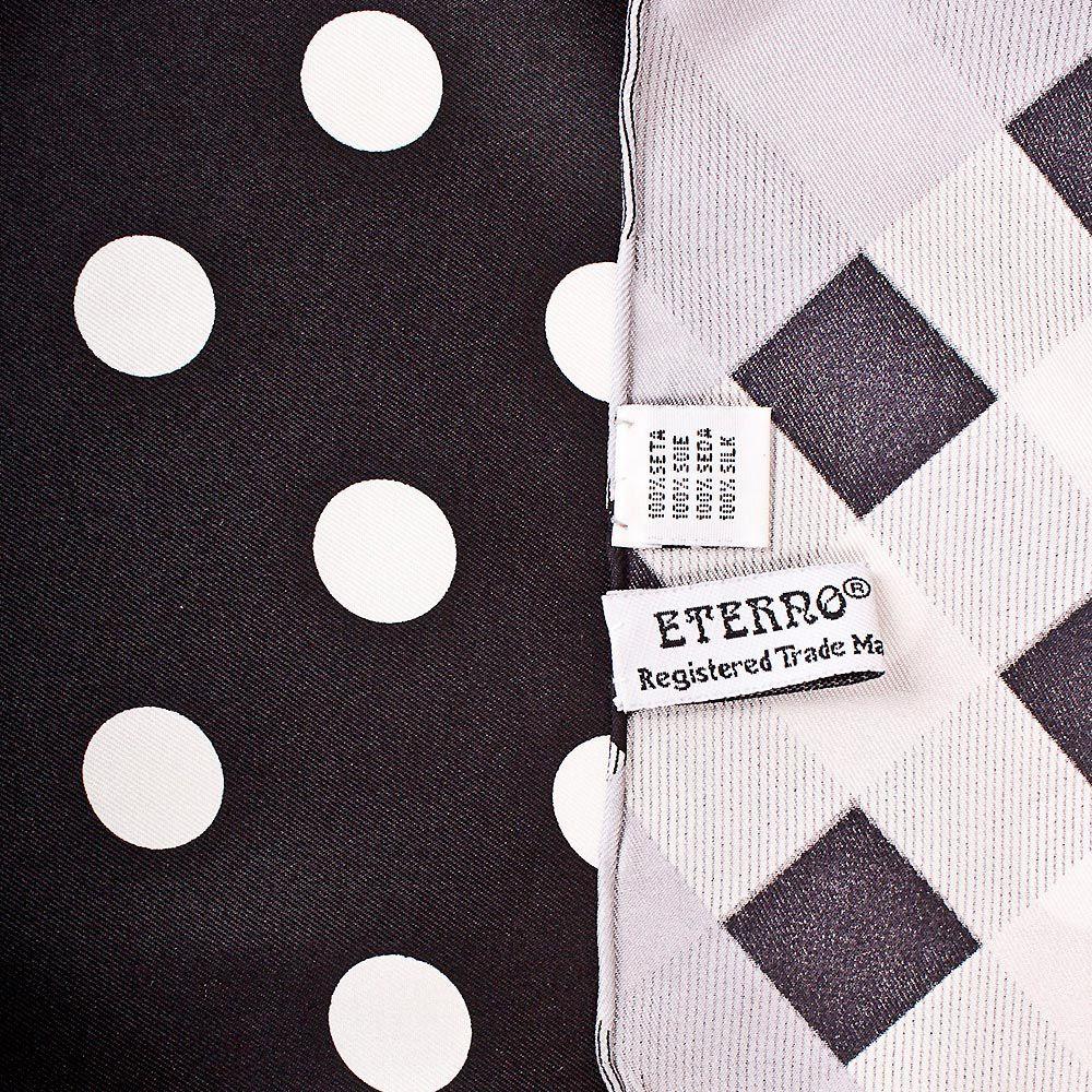 Шелковый платок Eterno черный в белый горох