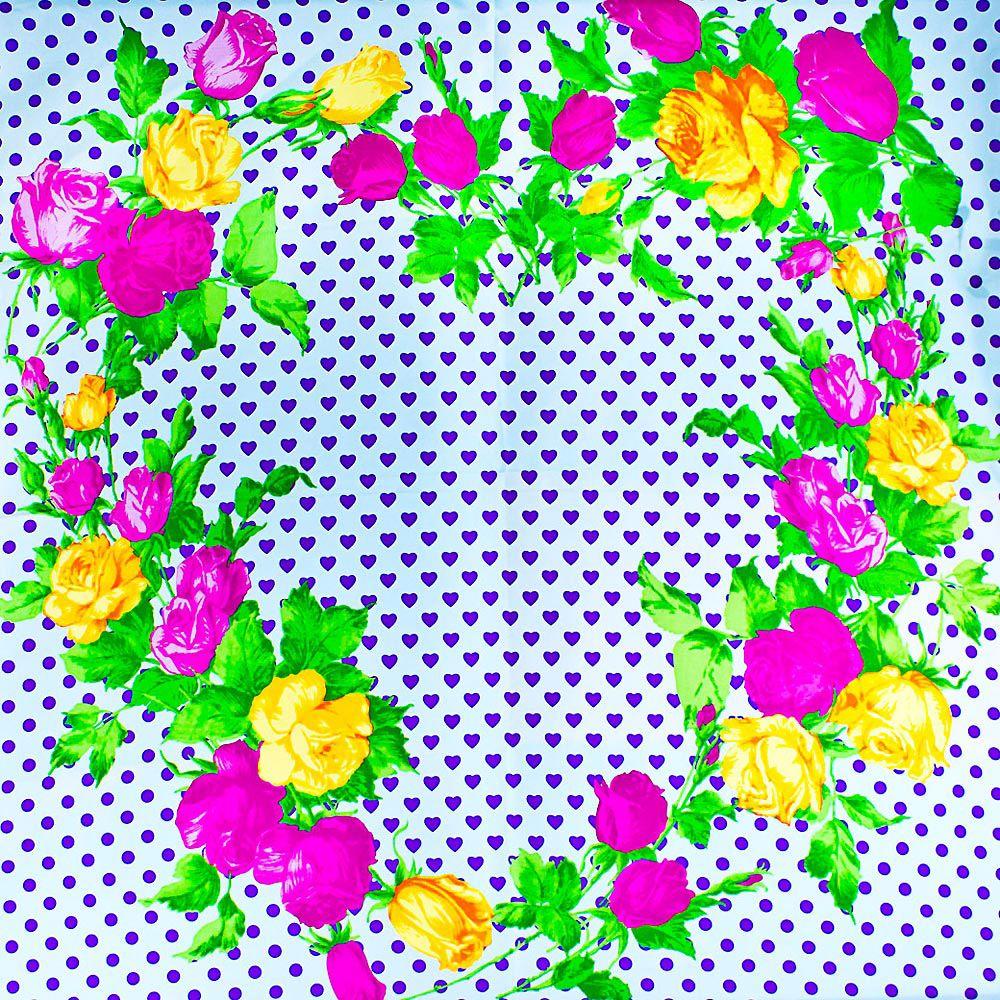 Шелковый платок Eterno белый в фиолетовых сердцах с розами