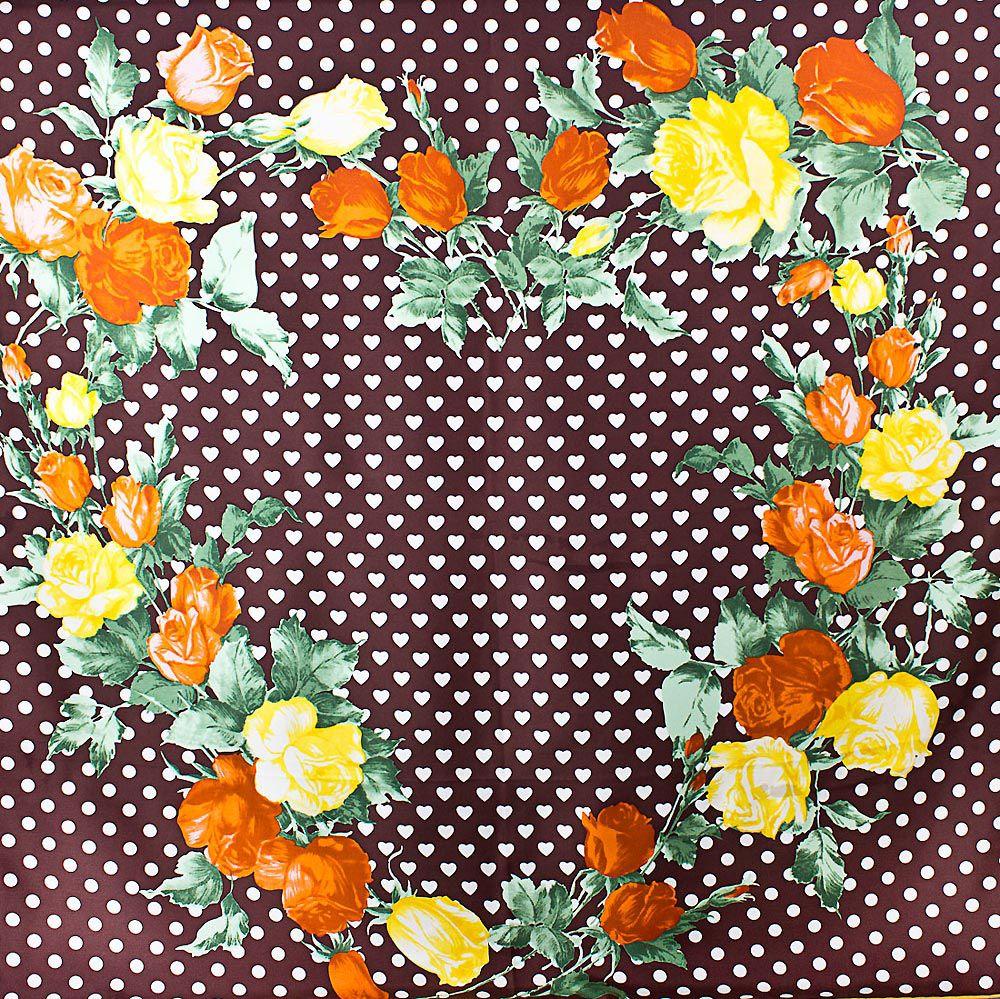 Шелковый платок Eterno шоколадно-коричневый в белых сердцах с розами