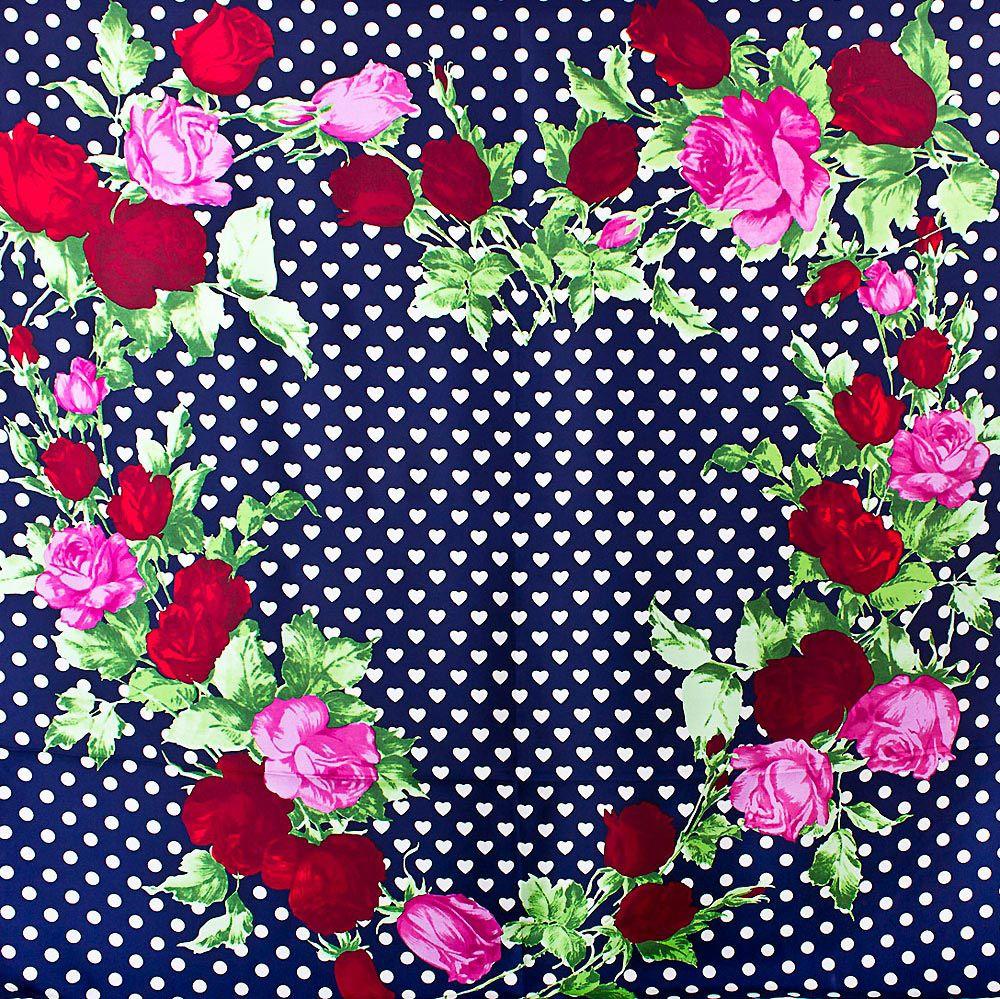 Шелковый платок Eterno темно-синий в белых сердцах с розами