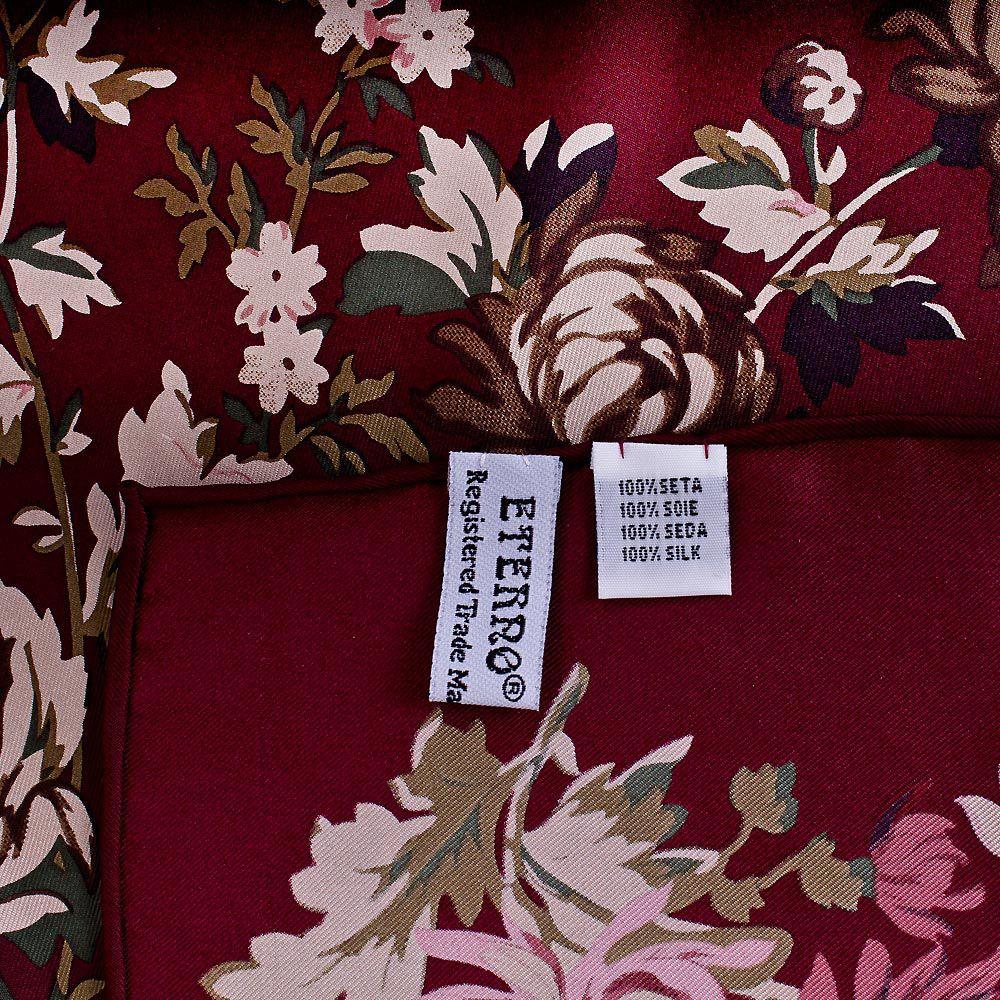 Шелковый платок Eterno насыщенно-бордовый с цветочным принтом